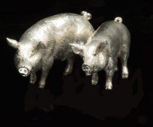 Zilver miniatuur peper en zout